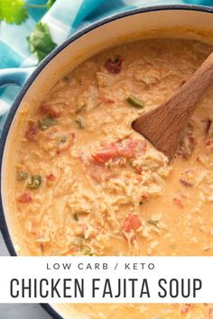 Carb Chicken Fajita Soup (Keto Friendly) This Low Carb Chicken Fajita Soup is delicious, full of flavor, and extremely filling.This Low Carb Chicken Fajita Soup is delicious, full of flavor, and extremely filling. Sopas Low Carb, Ketogenic Recipes, Healthy Recipes, Health Food Recipes, Healthy Soup Recipes, Health Tips, Crock Pot Recipes, Keto Snacks, Low Carb Recipes
