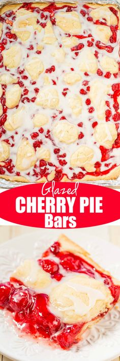 Glazed Cherry Pie Bars - Just like your favorite cherry pie but way easier!! A no-roll crust with juicy cherries and topped with a sweet glaze! Perfect for parties, events, and holidays!!