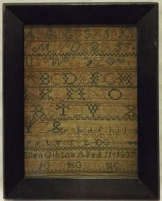 Early 19th century linen and silk work sampler by Ellen Gibson aged 11 - 1837. Worked in an attractive limited colour palette, the linen is stitched with rows of alphabet letters, numbers and border patterns, with a diamond, heart and flower motif at the end of the third row and finishing with Ellen's details and the date of1837 underlined with a row of family initials. | eBay!