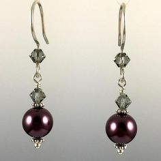 Burgundy Swarovski Crystal Pearls & Black Diamond Swarovski Crystals & Sterling Silver Simple Drop Earrings - 8mm - Steven James Jewelry - Handcrafted in CT USA