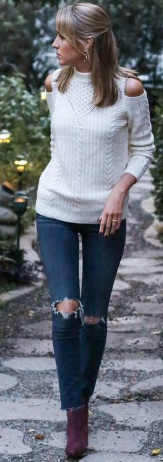 #fall #fashionistas #outfits | Cold Shoulder Cable Knit + Jeans