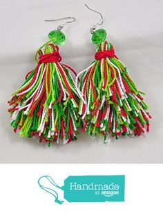 Christmas Tassel Earrings in Red, Green and Yellow from Jooniebeads Treasures https://www.amazon.com/dp/B01M8NJCBN/ref=hnd_sw_r_pi_dp_WO6mybT28M57S #handmadeatamazon