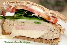 Chicken (or turkey) Cordon Blue Burger