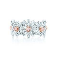 """""""Daisy"""" flower ring in 18 karat rose gold & platinum featuring white & pink diamonds by Jean Schlumberger from Tiffany & Co."""
