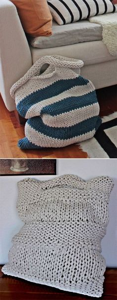 Free Knitting Pattern for Laundry Bags - Easy laundry bags in two sizes: 40 cm x 48 cm and 50 cm x 60 cm. Quick knit in super bulky yarn. Designed by Pirjo M