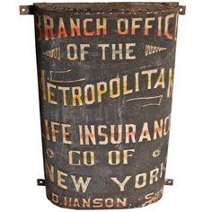 Metropolitan Life Insurance Hand Painted Sign  America  circa 1910-1915  Branch Office of the Metropolitan Life Insurance Co. NY,  outdoor handpainted sign