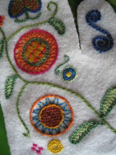 Finnish embroidery on mittens