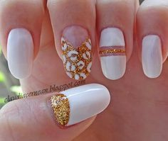 White & Gold Nails #nailart #polish #manicure - See more nail looks at bellashoot.com & share your faves!