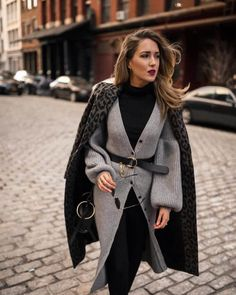 Fashion Leopard Print Long Sleeve Coat - Outfits for Work Nyc Fashion, Fashion Moda, Winter Fashion, Fashion Outfits, Trendy Fashion, Fashion Black, Fashion Women, Fashion Ideas, Fashion Inspiration
