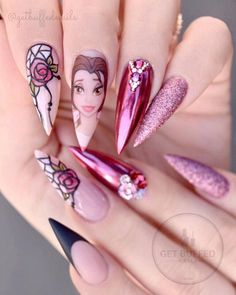 All of these nail designs and styles happen to be as easy as they are beautiful. For anybody who is continuously looking for ideas and unique designs, nail art designs are a good way to demonstrate your personality and to be original. Disney Acrylic Nails, Best Acrylic Nails, Acrylic Nail Designs, Nail Art Designs, Nail Swag, Cute Nails, Pretty Nails, Princess Nail Art, Beauty And The Beast Nails