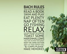Portray the bach rules on your wall!  Pay just $24 for a Bach Rules Wall Decal.  Great for a kitchen or lounge.