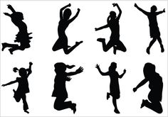 Kids Silhouettes Vector - Dancing Kids Silhouette Download