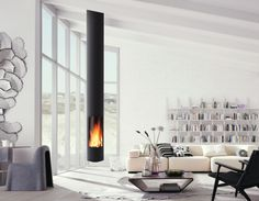 We collect creative and cool interior design ideas for you. From hanging fireplaces to staircase aquariums, here are cool interior design ideas. Decor Interior Design, Interior Design Living Room, Modern Interior, Modern Fireplace, Fireplace Design, House Extension Plans, Hanging Fireplace, Suspended Fireplace, Modern House Design