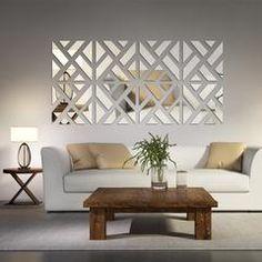 Mirrored Chevron Print Wall Decoration - silver 40x160cm