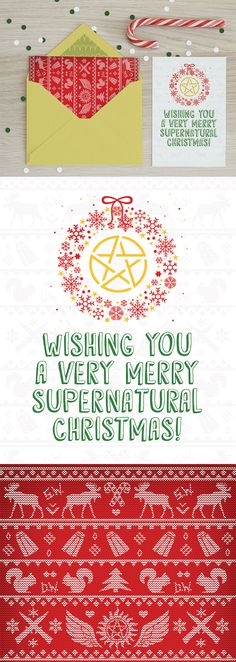 Supernatural ugly Christmas sweater greeting card. #printable #Digital #supernatural #christmas #greetingcard #holidays