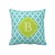 Turquoise & Green Modern Moroccan Custom Monogram Throw Pillows