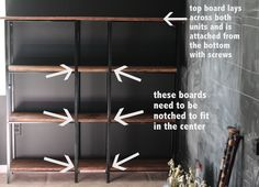 4 wooden boards + 2 $15 Ikea Hyllis shelf units