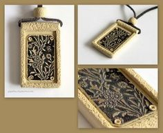 the frame for this etching is polymer clay, beautifully executed
