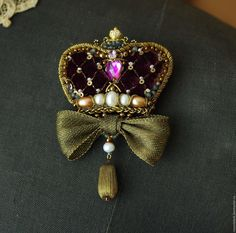 """Купить Брошь """" Корона бордо"""" - бордовый, корона, корона для принцессы, брошь-корона"""