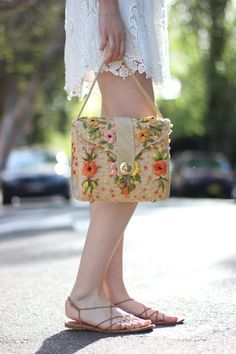 BYCHILL | Chloe Hill in Summer Whites and floral raffia bag