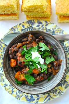 """sweet potato and black bean chili; this was pretty good- i liked black beans, sweet potatoes and lime as a side """"salad"""" better though"""