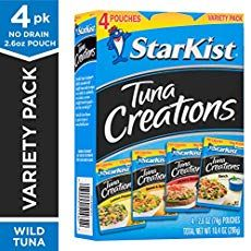 Price: (as of – Details) Can't decide which flavor of StarKist Tuna Creations variety you want? This StarKist Tuna Creations Variety Pack of 4 – ounce tuna pouches includes wild [. Starkist Tuna, No Bake Banana Pudding, Homemade Muffins, Mini Quiches, Emergency Food, Camping Meals, Sweet And Spicy, No Cook Meals, Gourmet Recipes