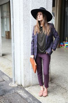 Shop this look for $1,046:  http://lookastic.com/women/looks/hat-and-blazer-and-chinos-and-loafers-and-crew-neck-t-shirt/1104  — Black Hat  — Violet Plaid Blazer  — Purple Chinos  — Pink Loafers  — Charcoal Crew-neck T-shirt