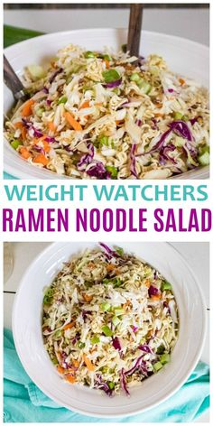 This Weight Watchers Ramen Noodle Salad is a great side dish for picnics and parties. A Weight Watchers Freestyle Recipe with 5 points per large serving. via Weight watchers meals Salade Weight Watchers, Weight Watchers Lunches, Plats Weight Watchers, Weight Watcher Desserts, Weight Watcher Dinners, Weight Watchers Dressing, Weight Watchers Vegetarian, Weight Watcher Vegetable Recipes, Weight Watchers Pasta