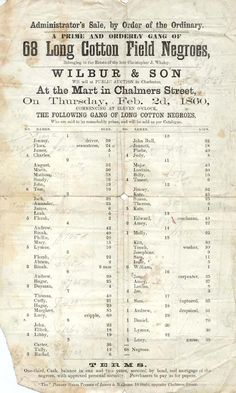 Black History Month: 1860 notice of slave auction in South Carolina. The ages run the gamut, from one to 85.
