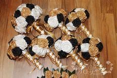 Gold, Black,  & White Wedding Bouquet Set by HeyBouquet