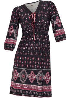 Vestido de viscose acinturado preto encomendar agora na loja on-line bonprix.de  R$ 129,00 a partir de Descontraído vestido de malha viscose com estampa ...
