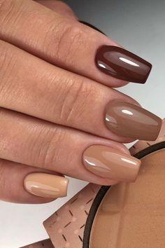 Brown Acrylic Nails, Brown Nail Polish, Simple Acrylic Nails, Brown Nails, Best Acrylic Nails, Acrylic Nails Autumn, Gel Polish, Colourful Acrylic Nails, Brown Nail Art