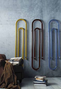 Giant paper clip radiators/towelrails by Scirocco Prodotti.who knew radiators could be decorative? H Design, House Design, Decorative Radiators, Modern Radiators, Wall Radiators, Contemporary Radiators, Vertical Radiators, Graffiti, 3d Modelle