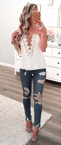 #summer #outfits White Lace-up Tank + Ripped Skinny Jeans