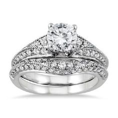 1 1/2ct Round Brilliant Cut Solitaire w/Accents Engagement Ring 14K white Gold #Jewelsbyeanda