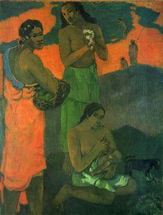 Paul Gauguin.  Mutterschaft. 1899, Öl auf Leinwand, 94 × 72 cm. St. Petersburg, Eremitage. Synthetismus, Landschaftsmalerei. Frankreich. Postimpressionismus.  KO 01434