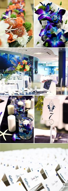 Unique place cards, vibrant colored flowers, and cute nautical touches brought this reception to life