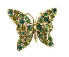 Hollycraft Green Rhinestone Butterfly Brooch as by RibbonsEdge, $39.99