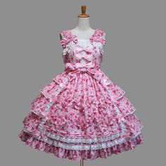 Pink Floral Pattern Square Collar Sleeveless Cotton Layered Bowtie Lolita Gowns