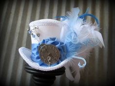 The White Rabbit in Blue Mini Top Hat, Alice in Wonderland Mini Top Hat, Tea Party Hat, Steampunk Hat, Gear Hat, Mad Hatter Hat, Bridal on Etsy, $54.00