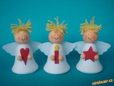 Christmas Crafts For Kids, Xmas Crafts, Christmas Angels, Christmas Art, Christmas Ornaments, Preschool Church Crafts, Handmade Angels, Christmas Tree Painting, Angel Crafts