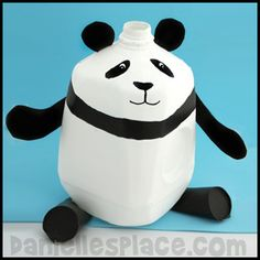 Panda Bear Milk Jug Craft from www.daniellesplace.com