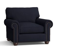Webster Roll Arm Upholstered Armchair with Bronze Nailheads, Down Blend Wrapped Cushions, Organic Cotton Twill Navy
