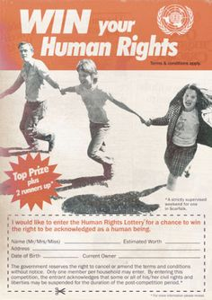 The dystopian satire site Scarfolk (previously) has scored another direct hit, this time on the human-rights-hating new, post-Brexit Prime Minister and the savage faction she's stacked her cabinet with. Human Rights Lottery Advertisement [Scarfolk] Diary Of A Madman, Joy Art, Satire, Human Rights, Creepy, Street Art, Hilarious, Advertising, Vintage Ads
