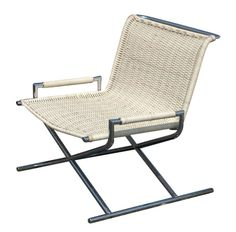 Ward Bennett - Sled Lounge Chair (1960s) - Woven cane and chromed steel lounge chair.