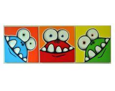 mONSTeRS hAVE SiLLy tEETH set of 3 1212 original acrylic paintings for kids room or nursery monster art monster wall art for kids Monster Kindergarten, Painting For Kids, Art For Kids, Kids Room Paint, Room Kids, Fete Halloween, Ideias Diy, Monster Art, Diy Canvas