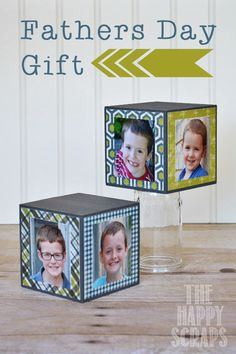 Photo Block - www.thehappyscraps.com - These are even better than the 2x4 because you could leave some of the sides open to add more pics as they get bigger!
