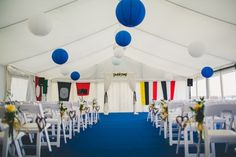 Marquee Lanterns Flags Nautical Yacht Club Harbour Wedding http://www.emmakenny.com/