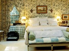 Aqua & beige bedroom with toile walls & checked quilt and table skirt - designer: Bobbi Smith - photo: Antoine Bootz - Southern Accents Magazine