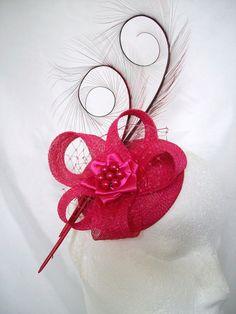 Cerise Fuchsia Pink Curl Feather Sinamay by IndigoDaisyWeddings, £35.00